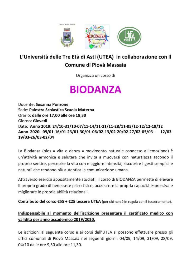 Corso di biodanza @ Palestra della Scuola Materna di Piovà Massaia